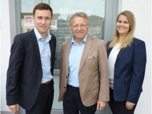 <b>Das Team der Allianzvertretung Martin Kornes (v.l.):</b><br>Martin Kornes (Kundenbetreuer), Toni Kornes (Generalvertreter), Christina Baur (Vertriebsassistentin)