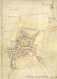 """Ausschnitt aus dem """"Plan zur Baulinie"""" von 1860"""