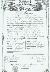 Schulzeugnis aus dem Jahre 1873