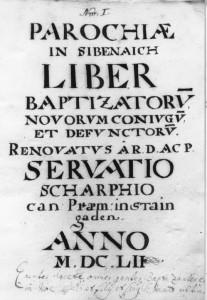Erste Seite vom Kirchenbuch 1652