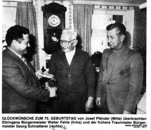 Pfänder feiert 75. Geburtstag 1981