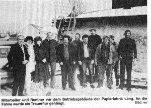 v.l.: Zacher, ?,?, Buchberger, türkischer Arbeiter, Goldberg, Weber, Doll Anton, Doll Johann, ?, Paulus
