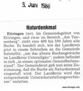 Zeitungsartikel von 1986