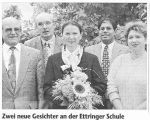 v.l.: Konrektor Hartmuth Schmidt, Schulrat Herbert Sedlmair, Rektorin Ute Wolfram, Pater Michael, Elternbeiratsvorsitzende Gabriele Strüwing
