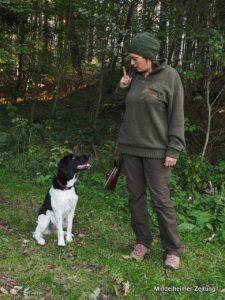 """Am Tag ihrer bestandenen Jägerprüfung erfuhr Melanie Restle vom Wurf einer Münsterländer-Hündin. Ob Zufall oder Schicksal: die junge Hundedame """"Bonnie"""" ist seitdem ihre Begleiterin, braucht aber noch Erziehung."""