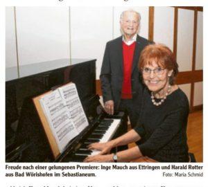 Freude nach einer gelungenen Premiere: Inge Mauch aus Ettringen und Harald Rotter aus Bad Wörishofen im Sebastianeum