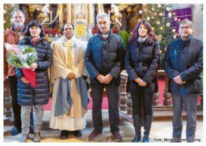 (von links): Armin Weh (Pfarrgemeinderatsvorsitzender), Andrea Doll, Pater Michael, Walter Scheitle, Manuela König und Peter Holzheu