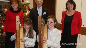 Mit Werken von Bach, Mozart, Beethoven und Brahms begeisterten bei ihrem Konzert im Sebastianeum. Auf dem Foto (hinten von links) Inge Mauch, Harald Rotter und Rosalinde Boos, vorne Yvonne und Jenny Wiedemann.