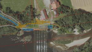 Auf dieser Skizze kann man erkennen, welche Dimensionen das Wasserkraftwerk am Walterwehr an der Wertach haben sollte. Der Betreiber, die Bayerische Landeskraftwerke GmbH (LaKW), wollte hier das Fünf-Millionen-Projekt verwirklichen, gegen das sich heftiger Widerstand formierte. Jetzt hat die LaKW entschieden, das Kraftwerk nicht zu bauen.